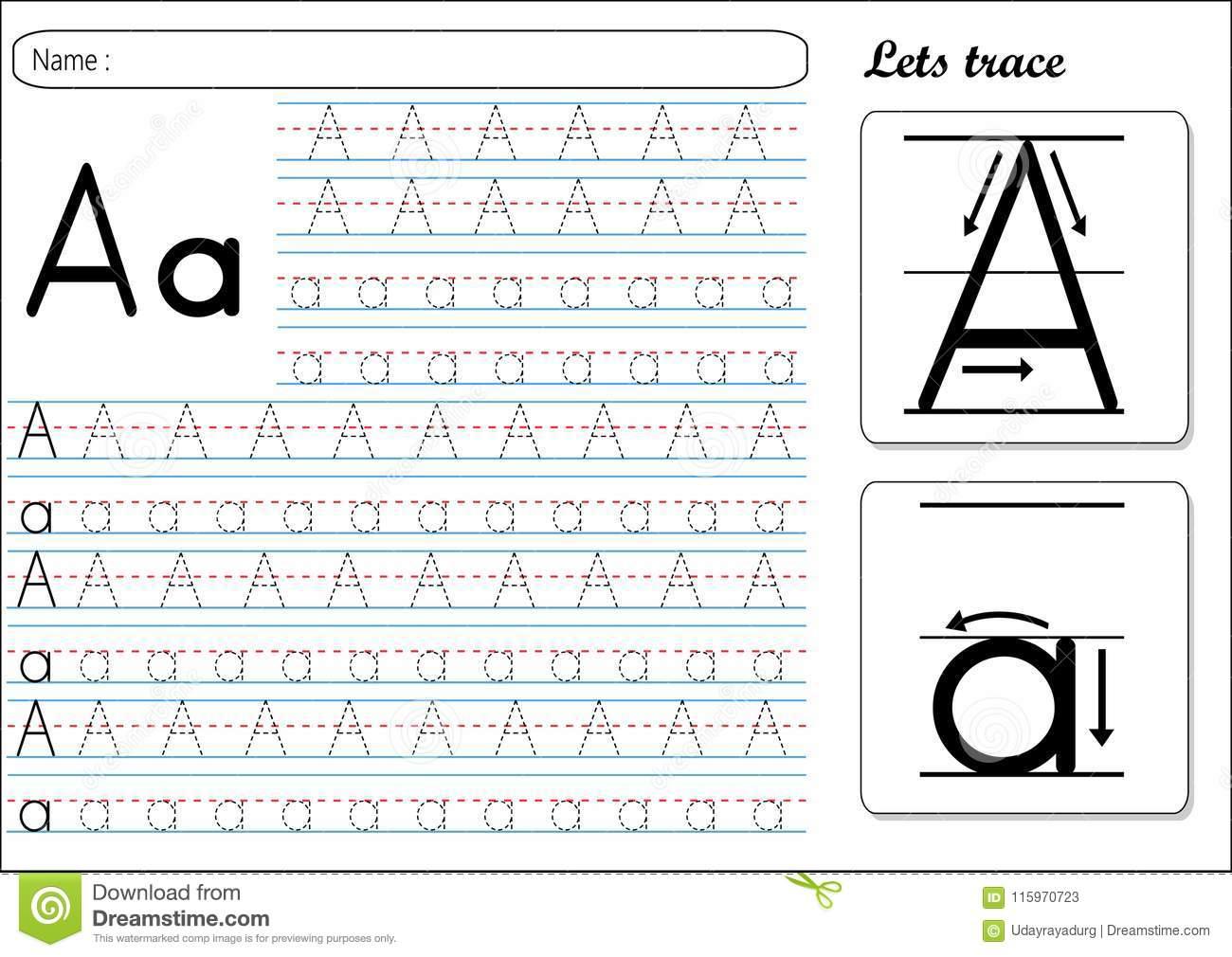 Tracing Worksheet -Aa Stock Vector. Illustration Of Sheet