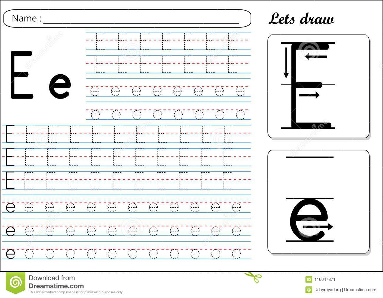 Tracing Worksheet -Ee Stock Vector. Illustration Of Cursive