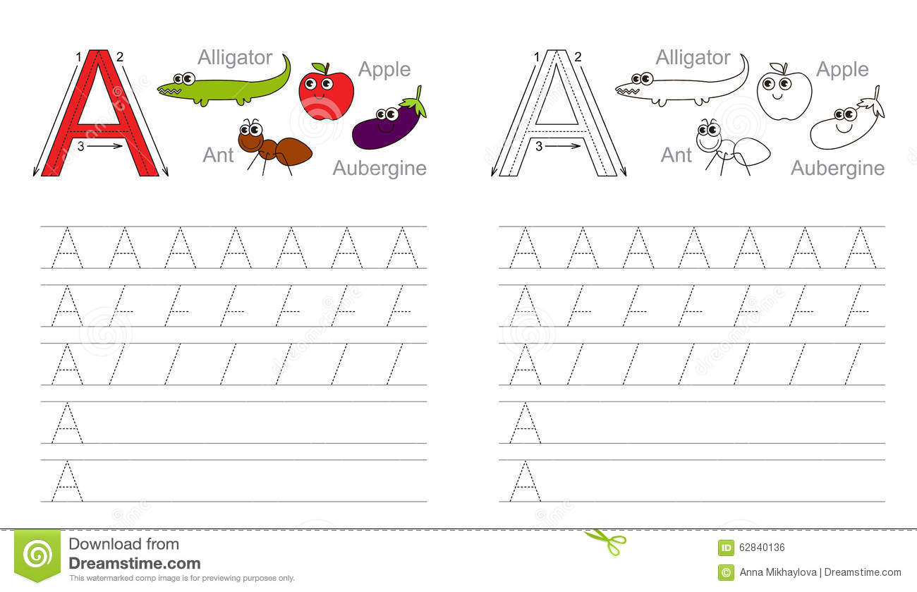 Tracing Worksheet For Letter A Stock Vector - Illustration