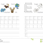 Tracing Worksheet For Letter E Stock Vector - Illustration