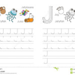 Tracing Worksheet For Letter J Stock Vector - Illustration