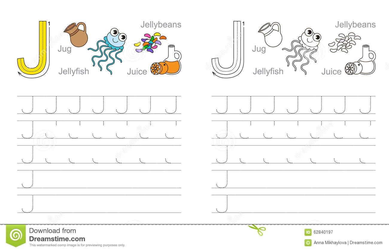 Tracing Worksheet For Letter J Stock Vector - Illustration