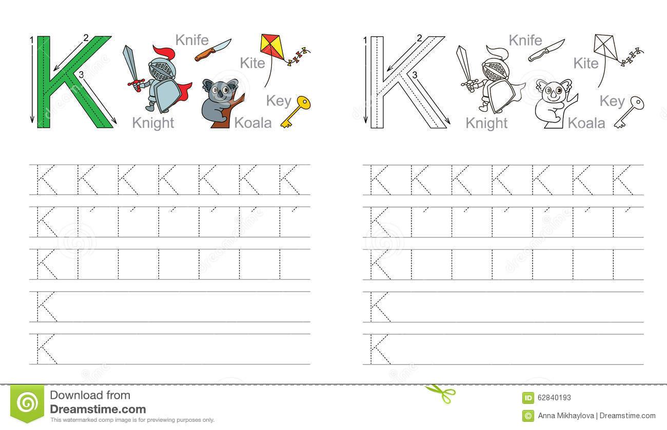 Tracing Worksheet For Letter K Stock Vector - Illustration
