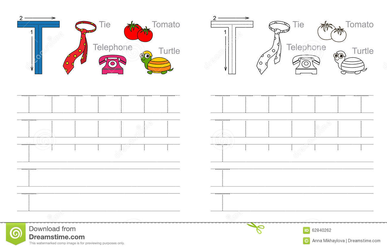 Tracing Worksheet For Letter T Stock Vector - Illustration