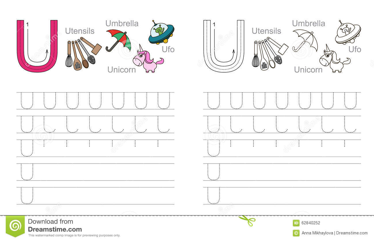 Tracing Worksheet For Letter U Stock Vector - Illustration