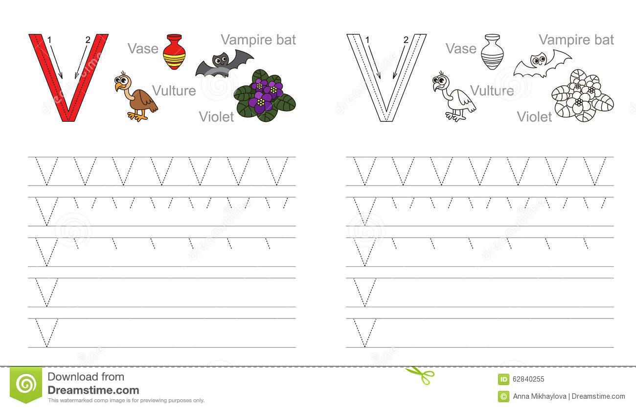 Tracing Worksheet For Letter V Stock Vector - Illustration
