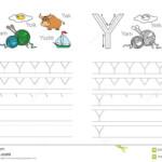 Tracing Worksheet For Letter Y Stock Vector - Illustration