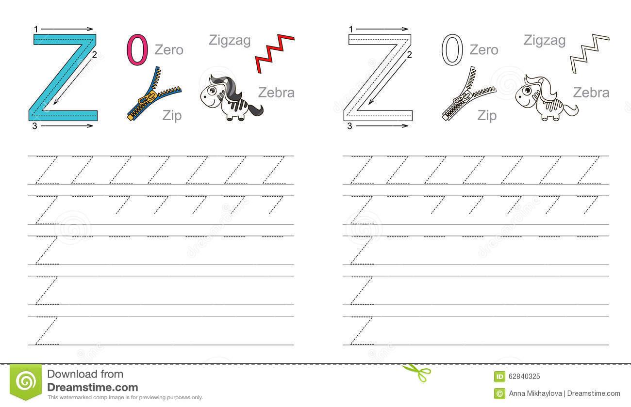 Tracing Worksheet For Letter Z Stock Vector - Illustration