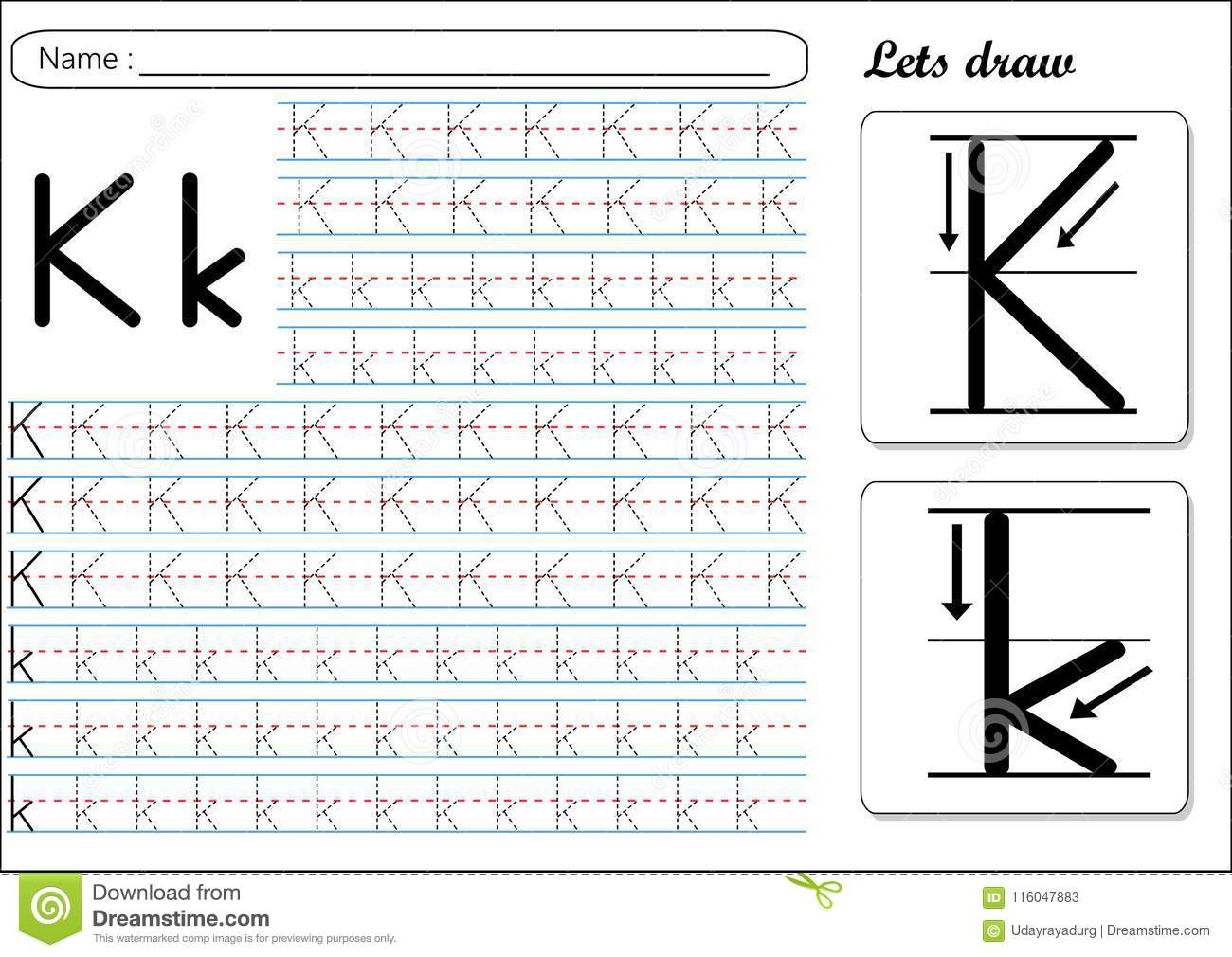 Tracing Worksheet -Kk Stock Vector. Illustration Of Cursive