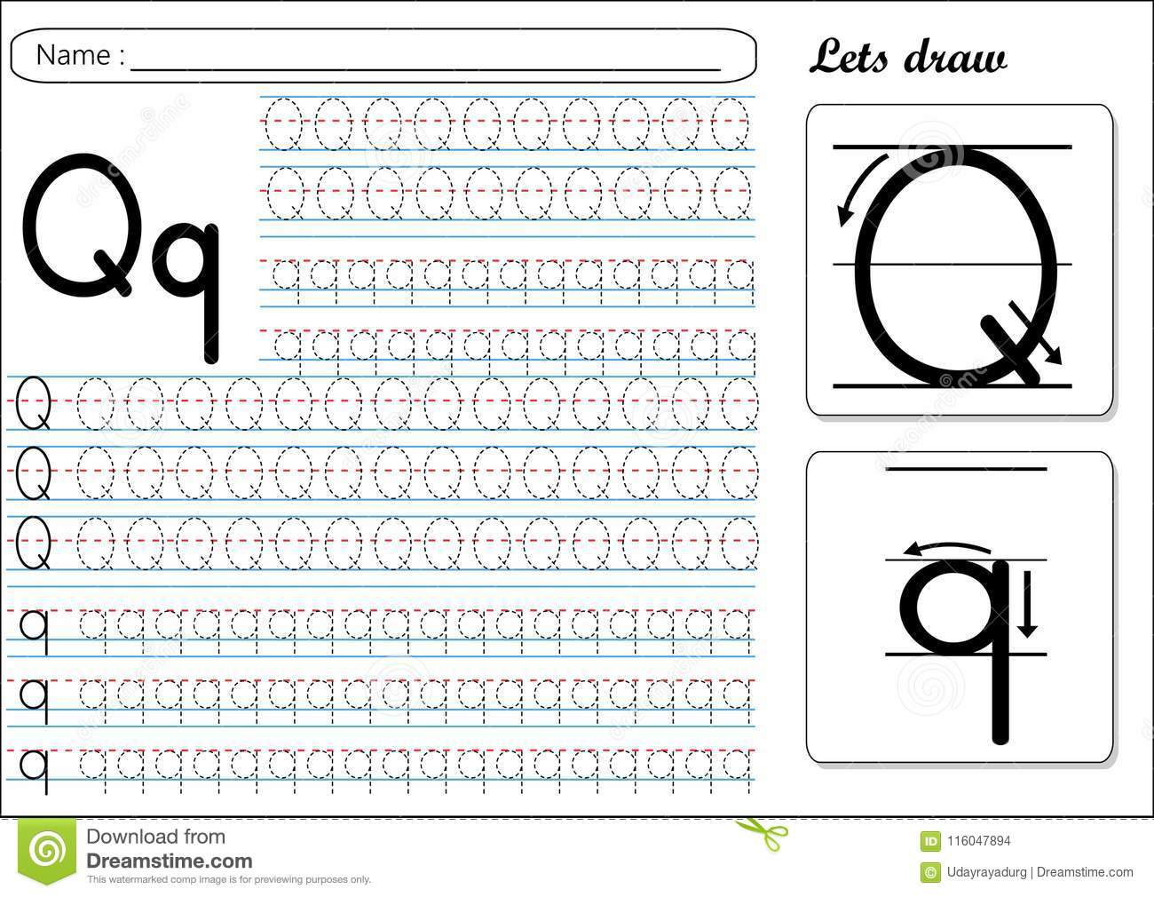 Tracing Worksheet -Qq Stock Vector. Illustration Of Book