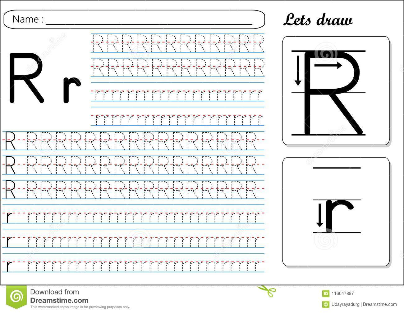Tracing Worksheet -Rr Stock Vector. Illustration Of Cursive