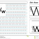 Tracing Worksheet -Ww Stock Vector. Illustration Of Guide