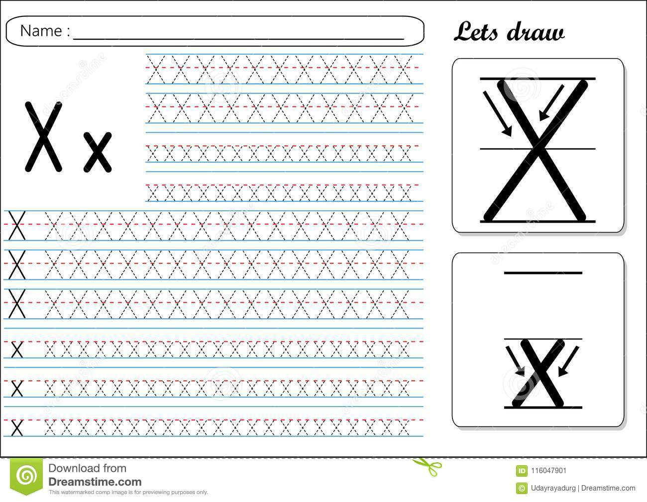 Tracing Worksheet -Xx Stock Vector. Illustration Of Letter