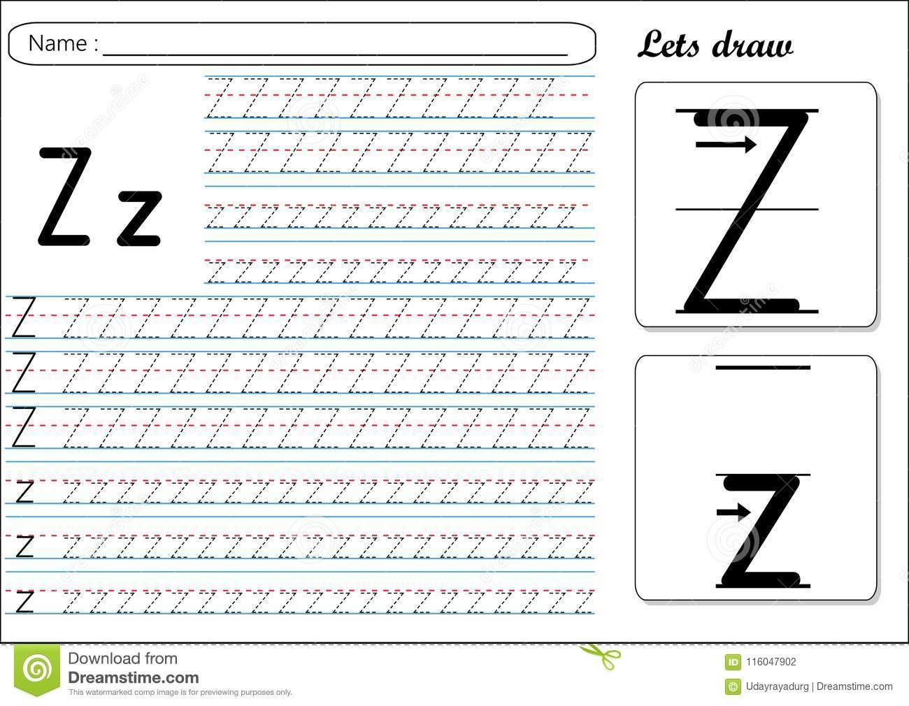 Tracing Worksheet -Zz Stock Vector. Illustration Of Fast