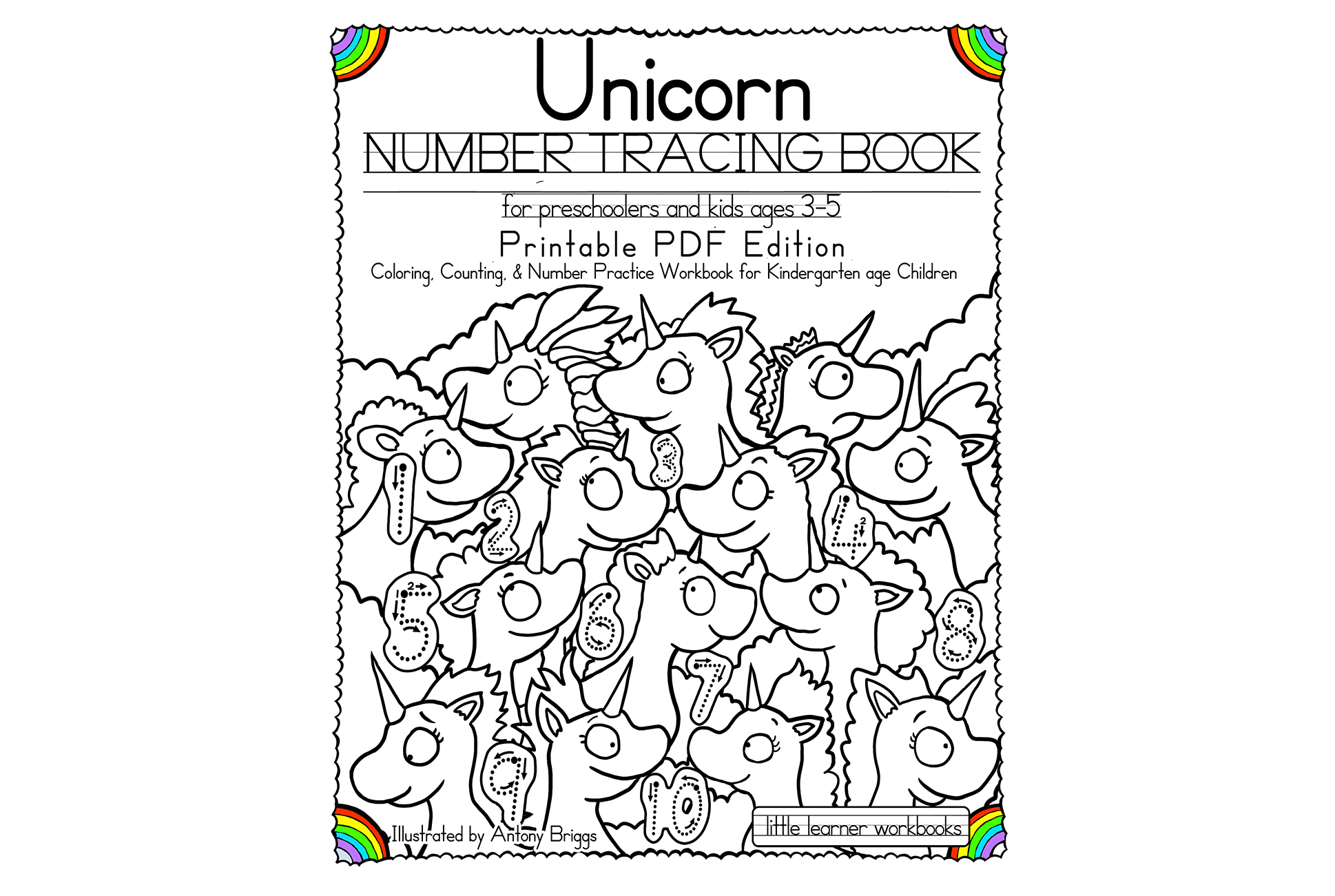 Unicorn Number Tracing Book – Printable Pdf Edition – Little
