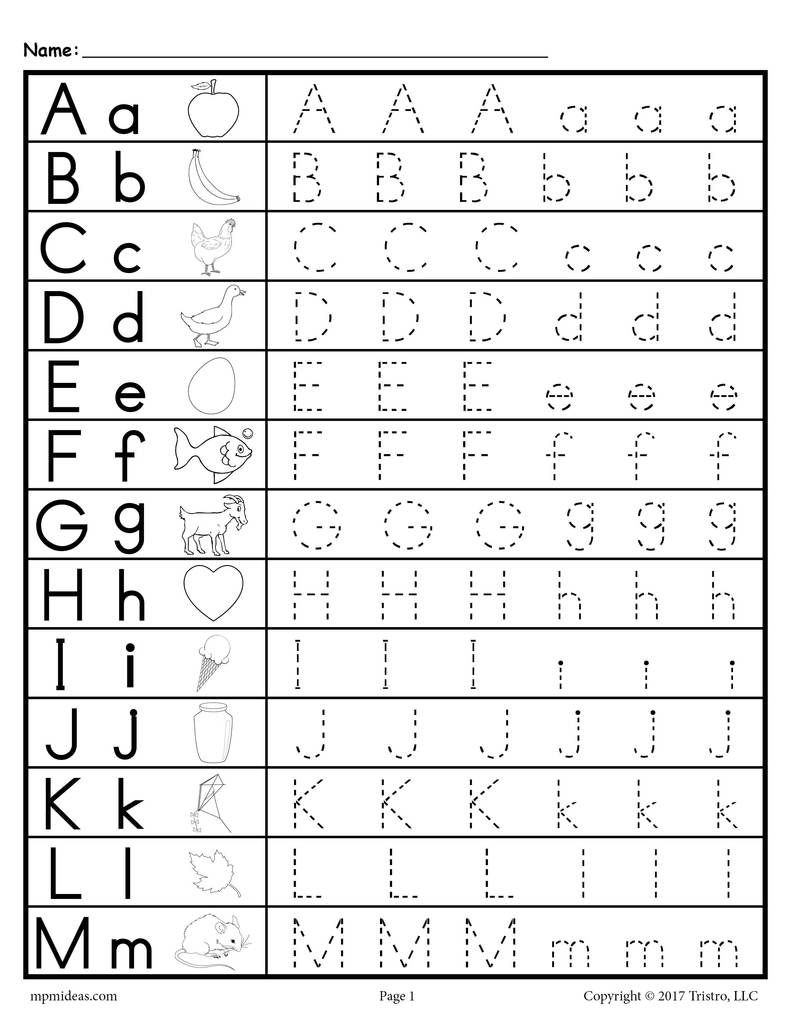 Uppercase And Lowercase Letter Tracing Worksheets | Alphabet