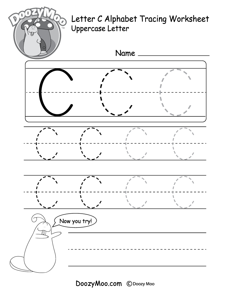 Uppercase Letter C Tracing Worksheet - Doozy Moo