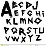 Vector Alphabet. Font Writtenwide Brush In The Ancient