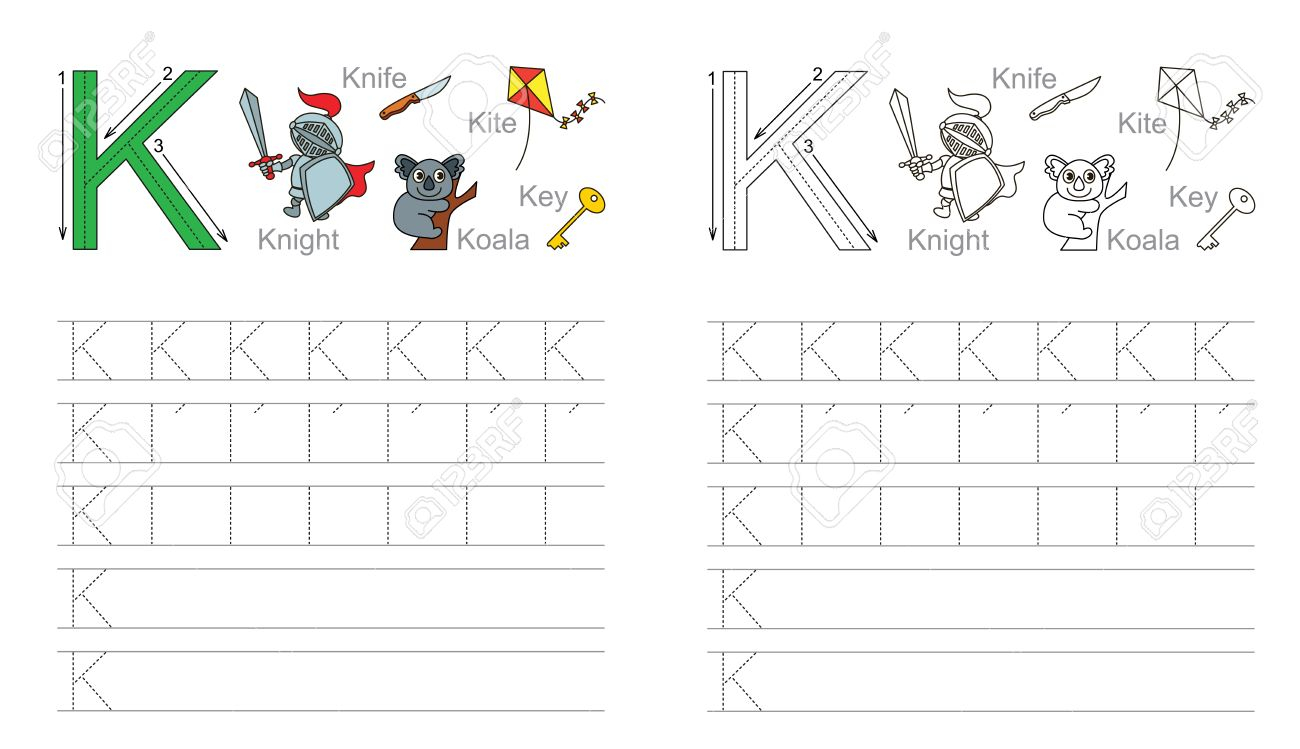 Vector Exercise Illustrated Alphabet. Learn Handwriting. Page..