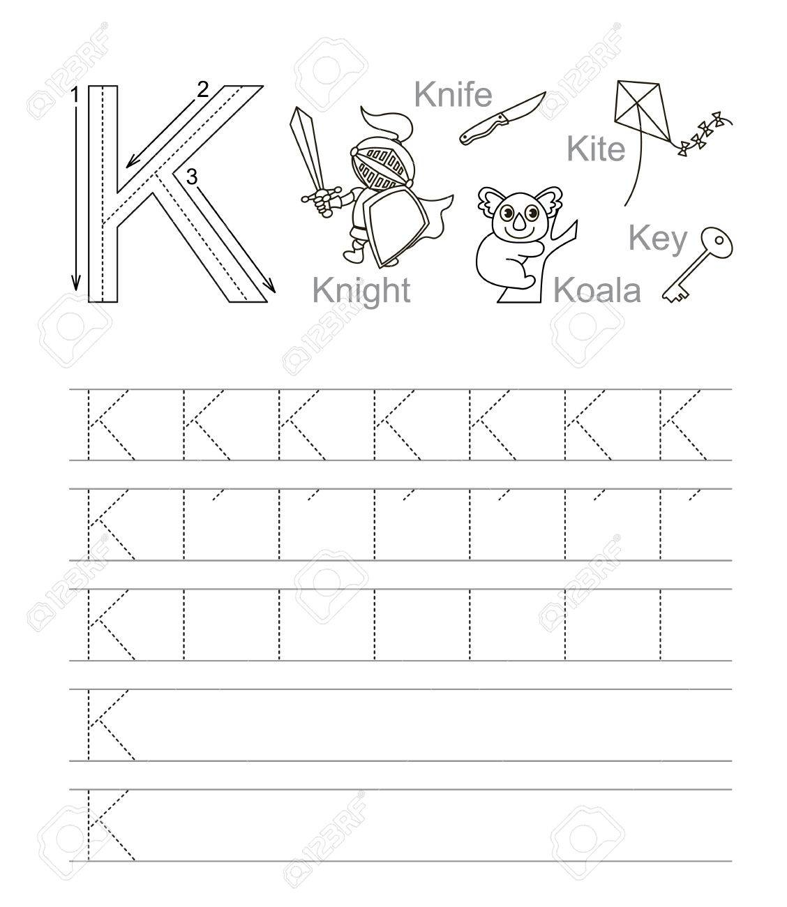 Vector Exercise Illustrated Alphabet. Learn Handwriting. Tracing..