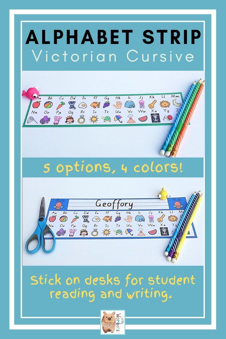 Victorian Cursive Desk Alphabet Strips | Alphabet, Cursive