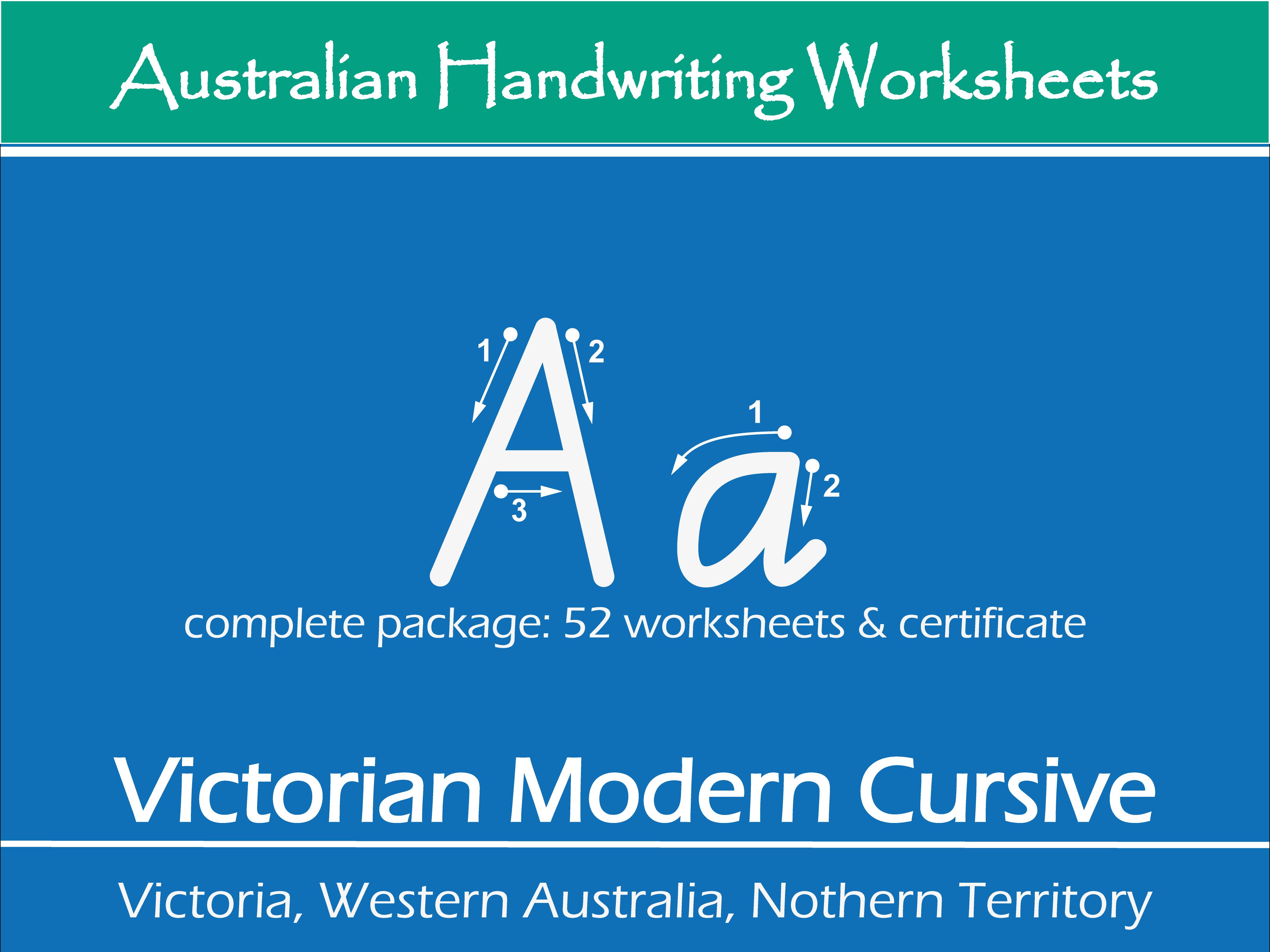 Victorian Modern Cursive Handwriting Worksheets - Complete Alphabet