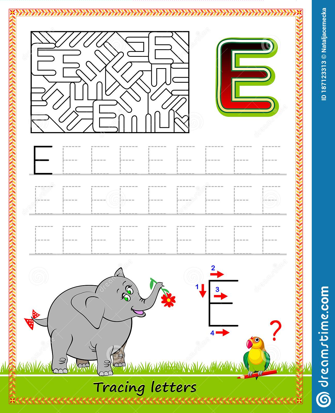 Worksheet For Tracing Letters. Find And Paint All Letters E