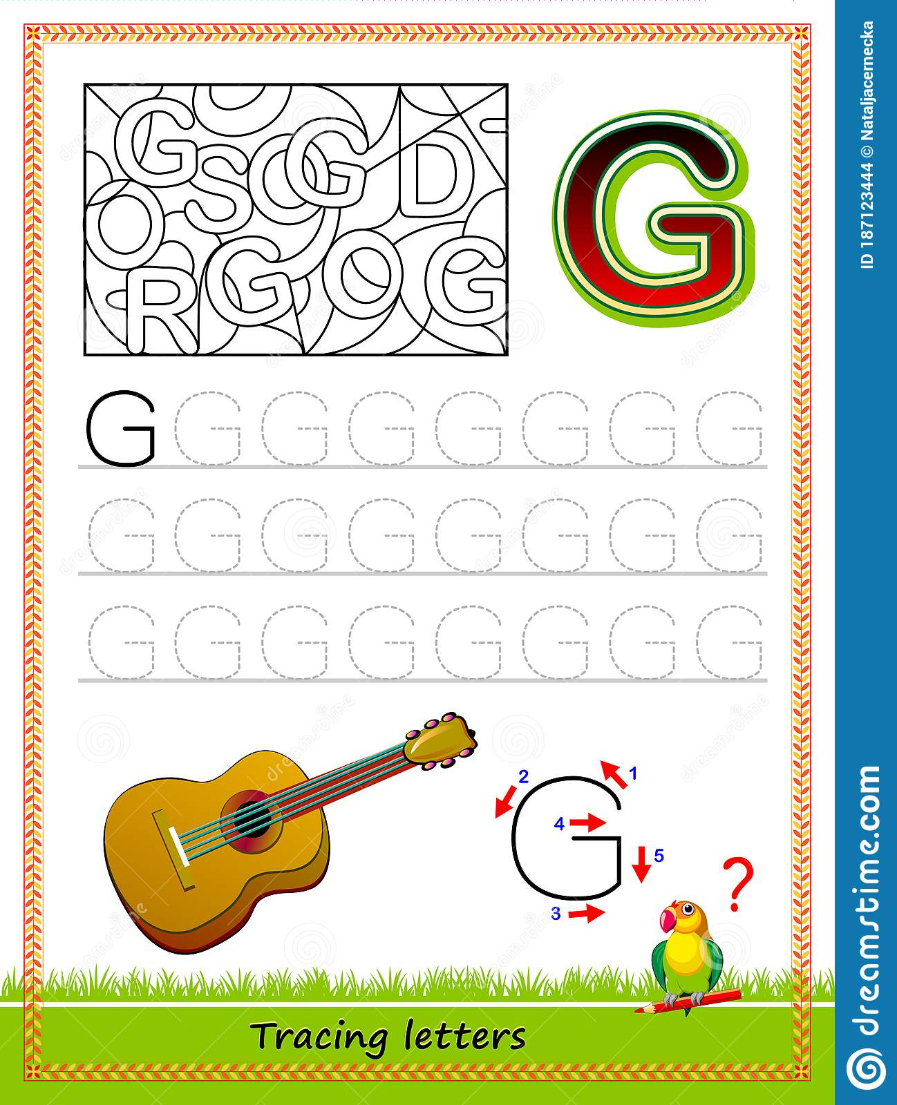 Worksheet For Tracing Letters. Find And Paint All Letters G