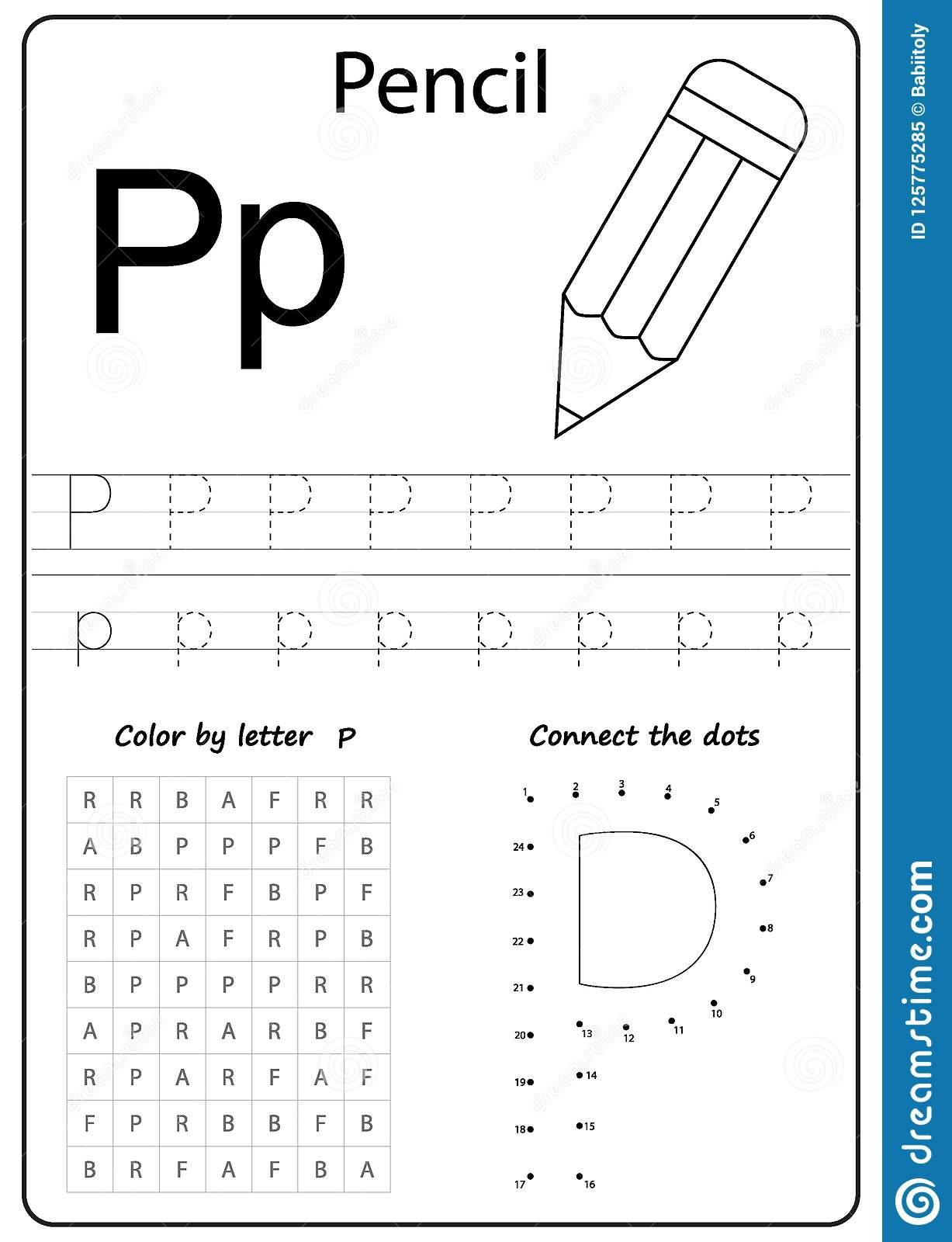 Writing Letter P. Worksheet. Writing A-Z, Alphabet