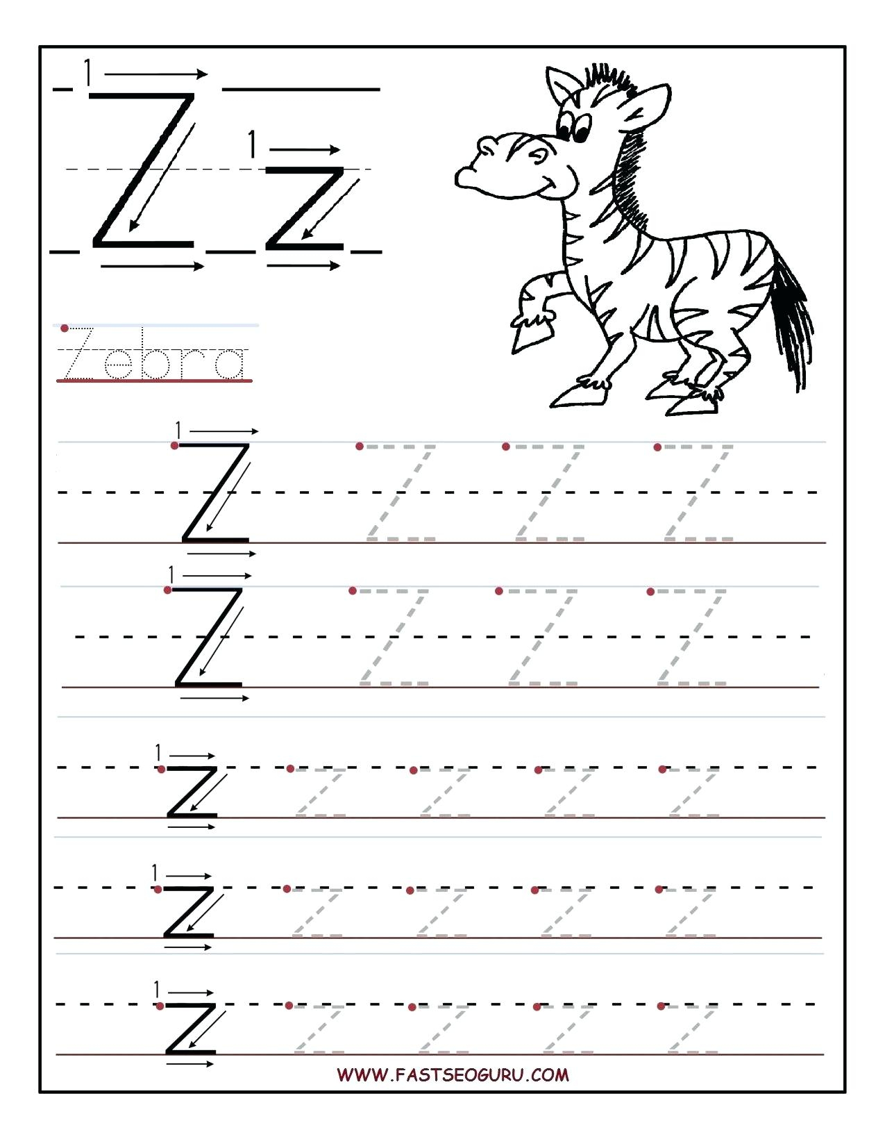 Z Worksheets Tracing Letter Z Worksheets For Grade 2 Maths