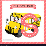 Letter S Uppercase Tracing School Bus