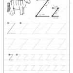 Tracing Alphabet Letter Z. Black And White Educational Pages On Line For  Kids. Printable Worksheet For Children Textbook. Developing Skills Of