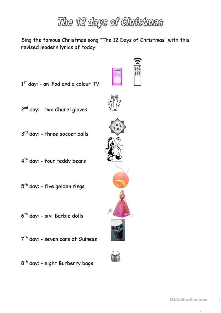 12 Days Of Christmas - English Esl Worksheets For Distance