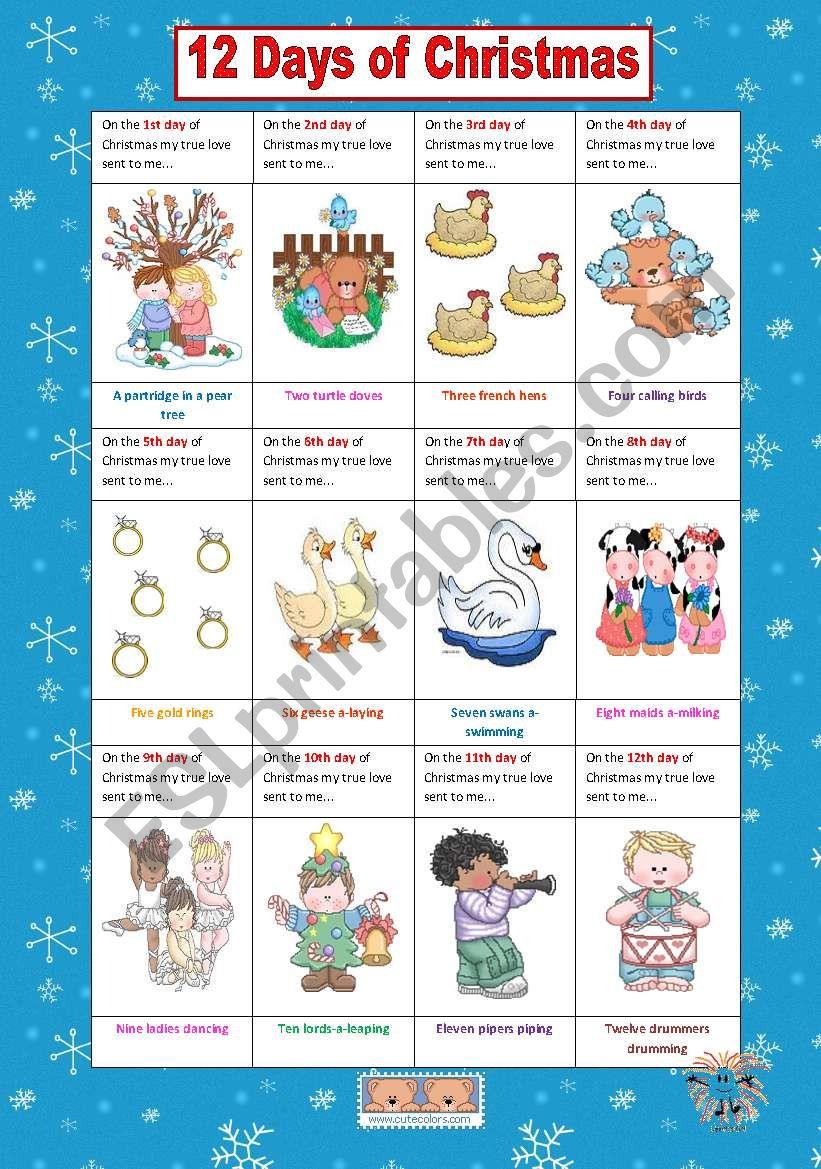 12 Days Of Christmas - Esl Worksheetvanev