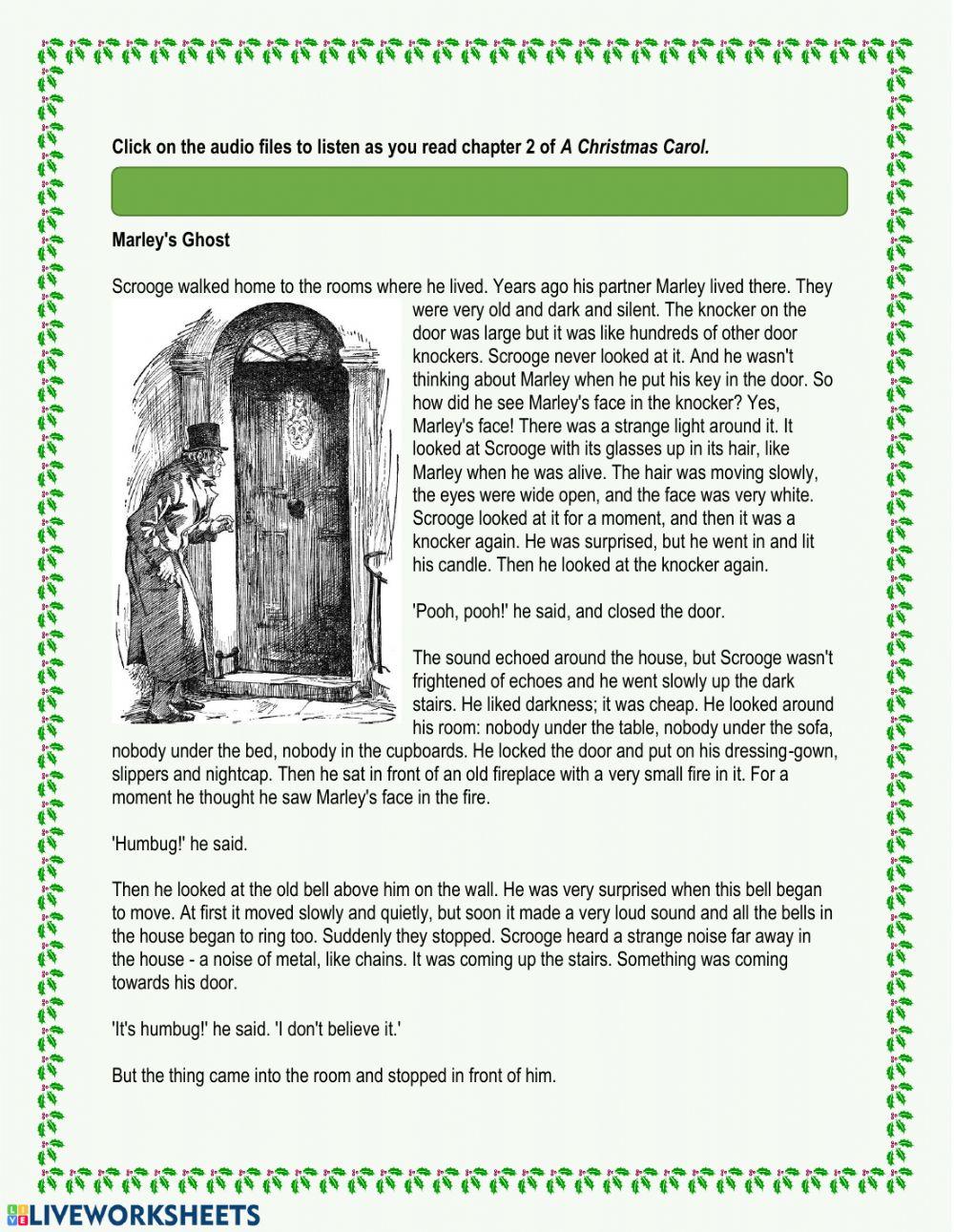 A Christmas Carol - Chapter 2 Worksheet