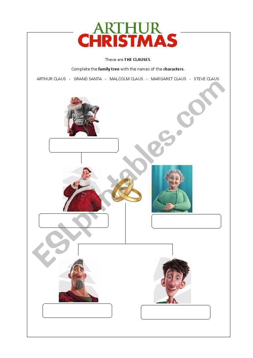 Arthur Christmas Family Tree - Esl Worksheetelenapaat