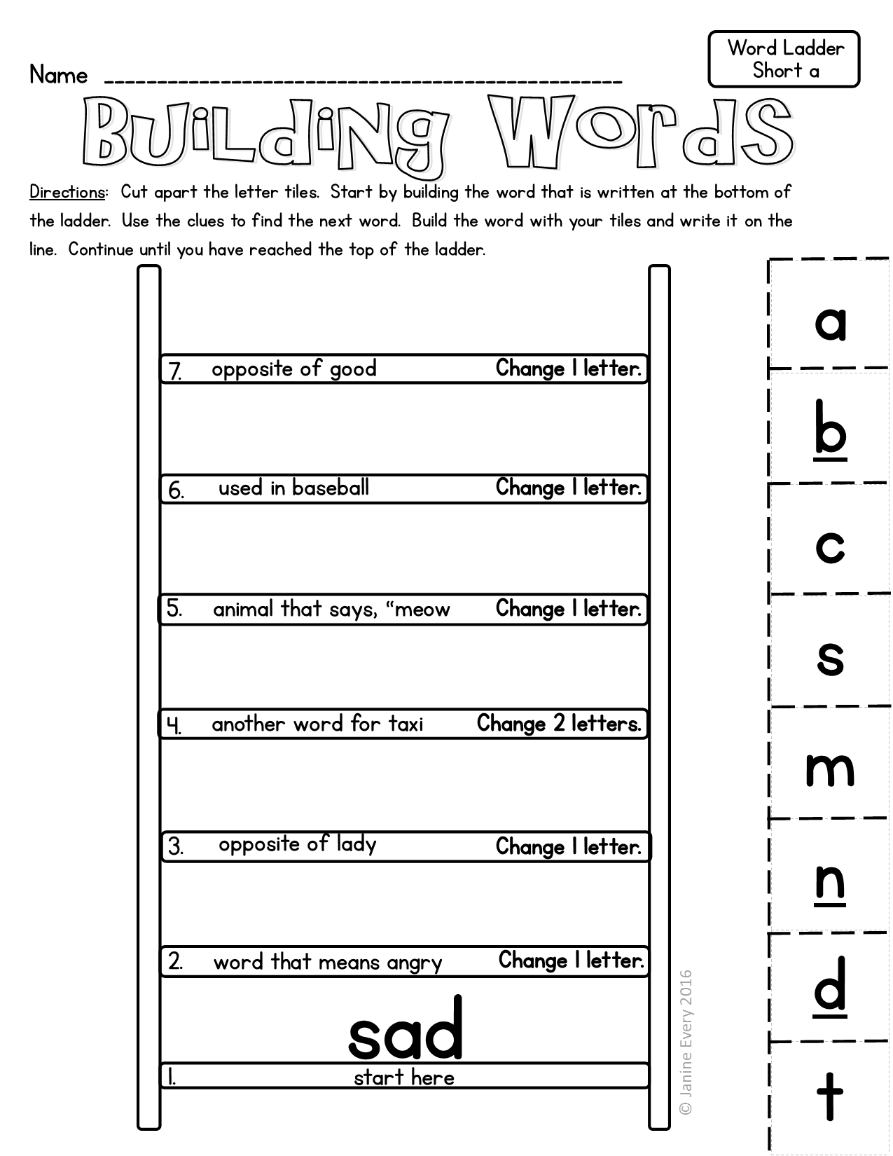 Building Words With Word Ladders - Great For Building