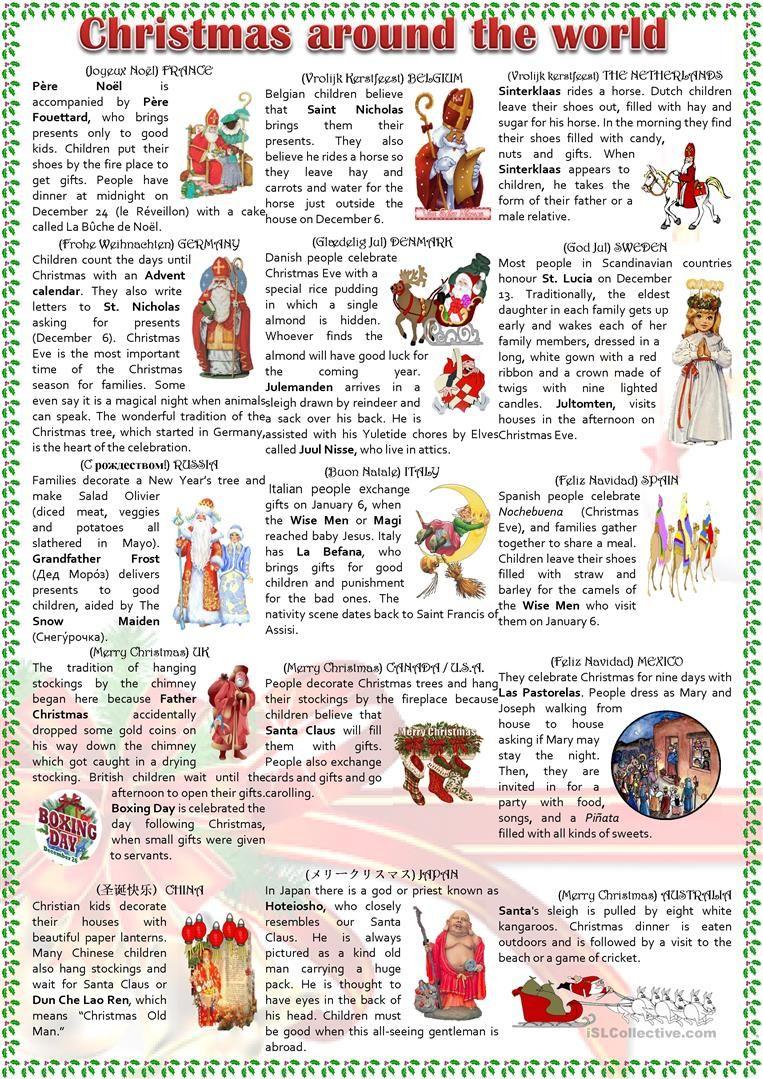 Christmas Around The World Worksheet - Free Esl Printable