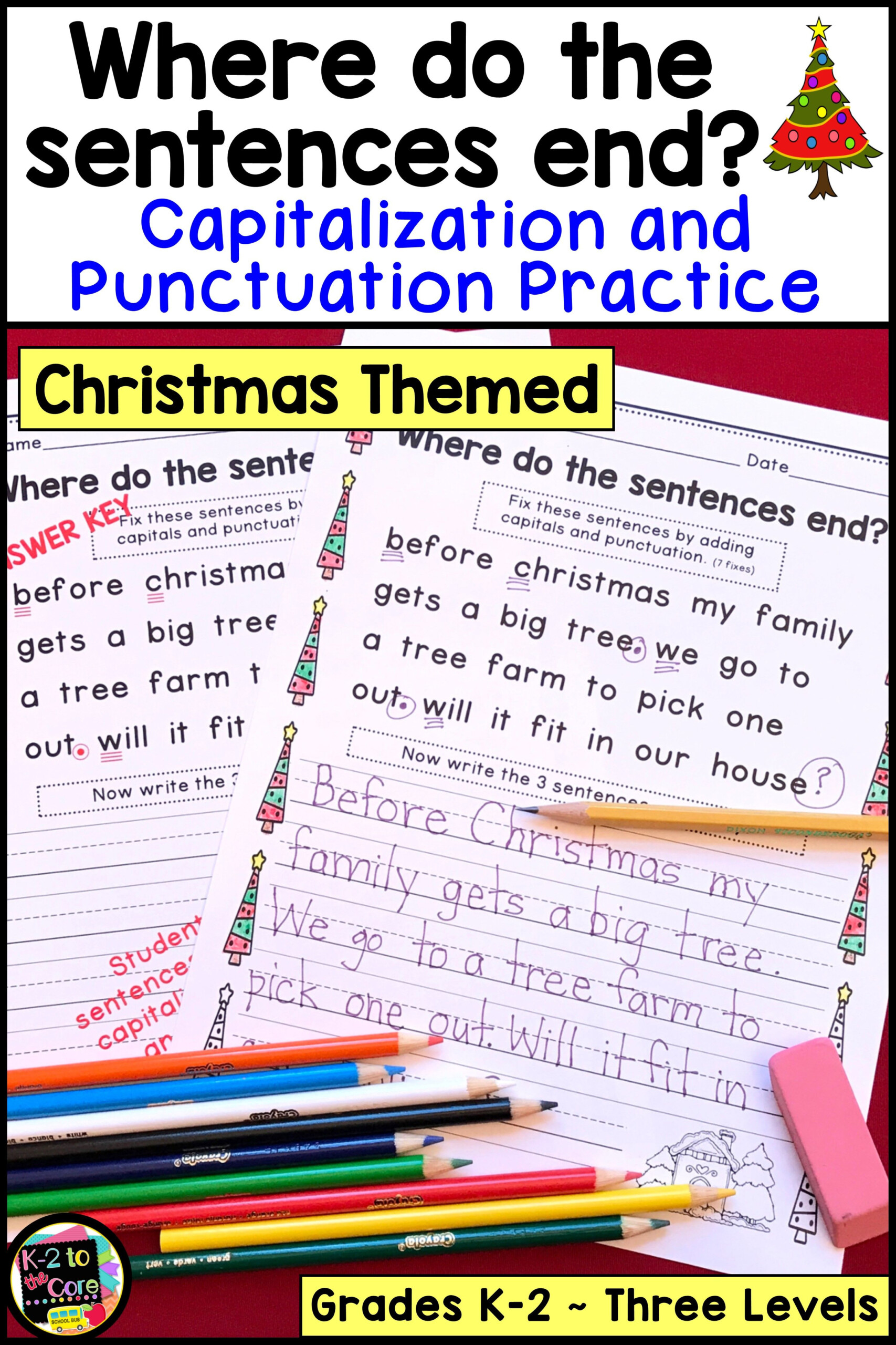 Christmas Capitalization And Punctuation Practice Worksheets