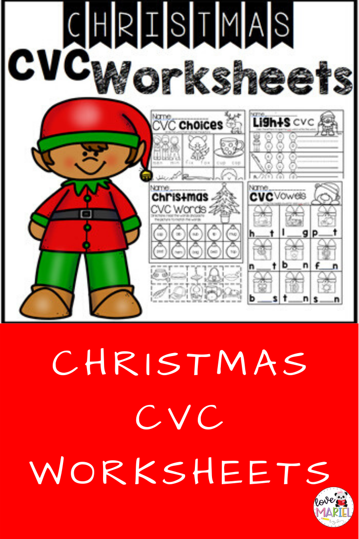 Christmas Cvc Worksheets | Cvc Worksheets, Cvc Words