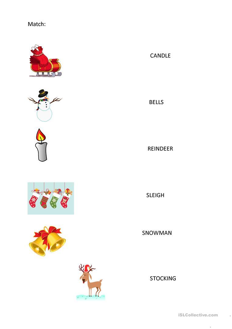 Christmas - Easy Worksheet For Yl - English Esl Worksheets