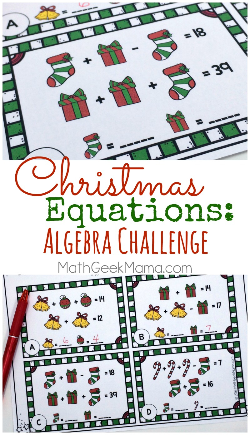 Christmas Equations Worksheet: Unique Math Challenge {Free}