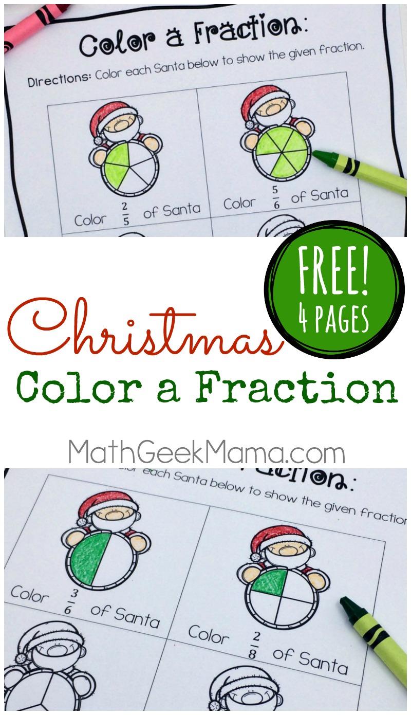 Christmas Fraction Worksheets For 3-5 Grade {Free}