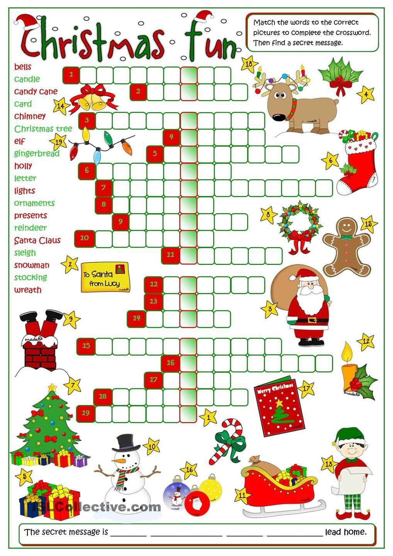 Christmas Fun - Crossword | Christmas Worksheets, Christmas