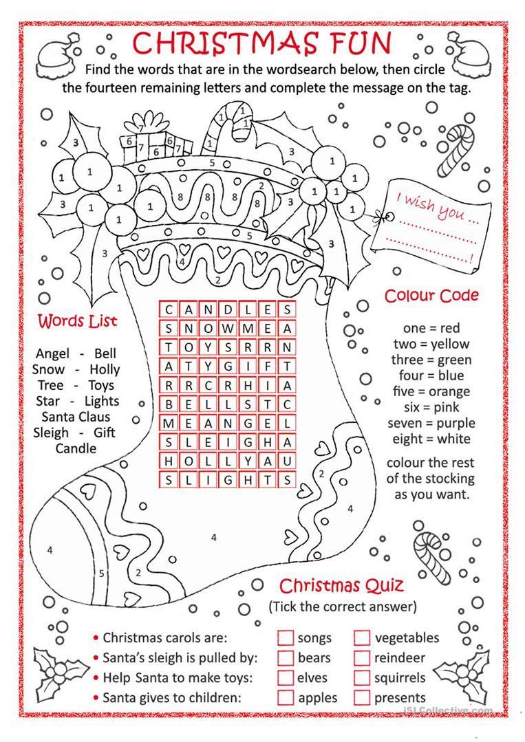 Christmas Fun Worksheet - Free Esl Printable Worksheets Made