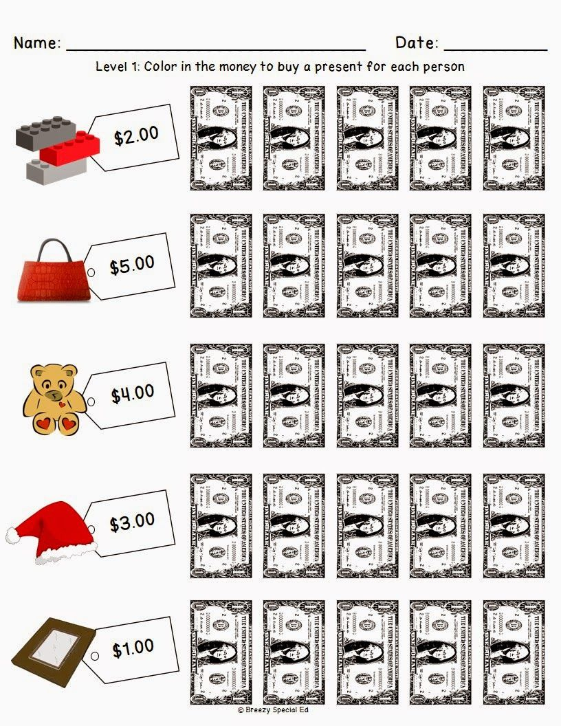 Christmas/holiday Shopping Worksheets For Free | Money