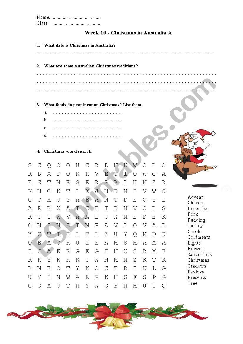 Christmas In Australia Worksheet - Esl Worksheetlips0021