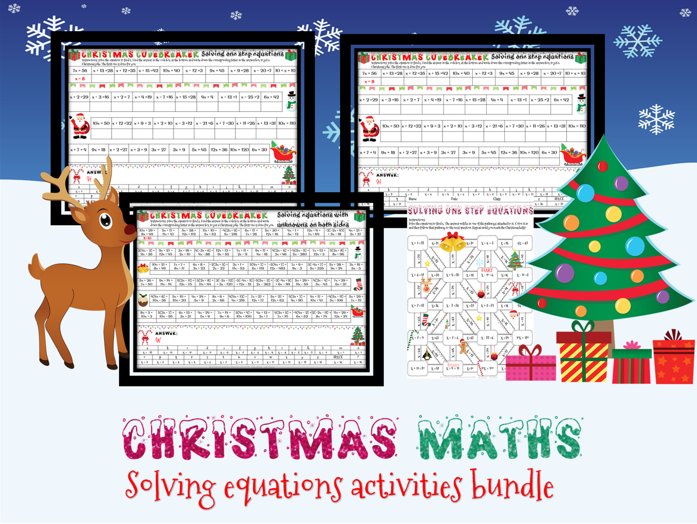 Christmas Maths: Solving Equations Activities Bundle