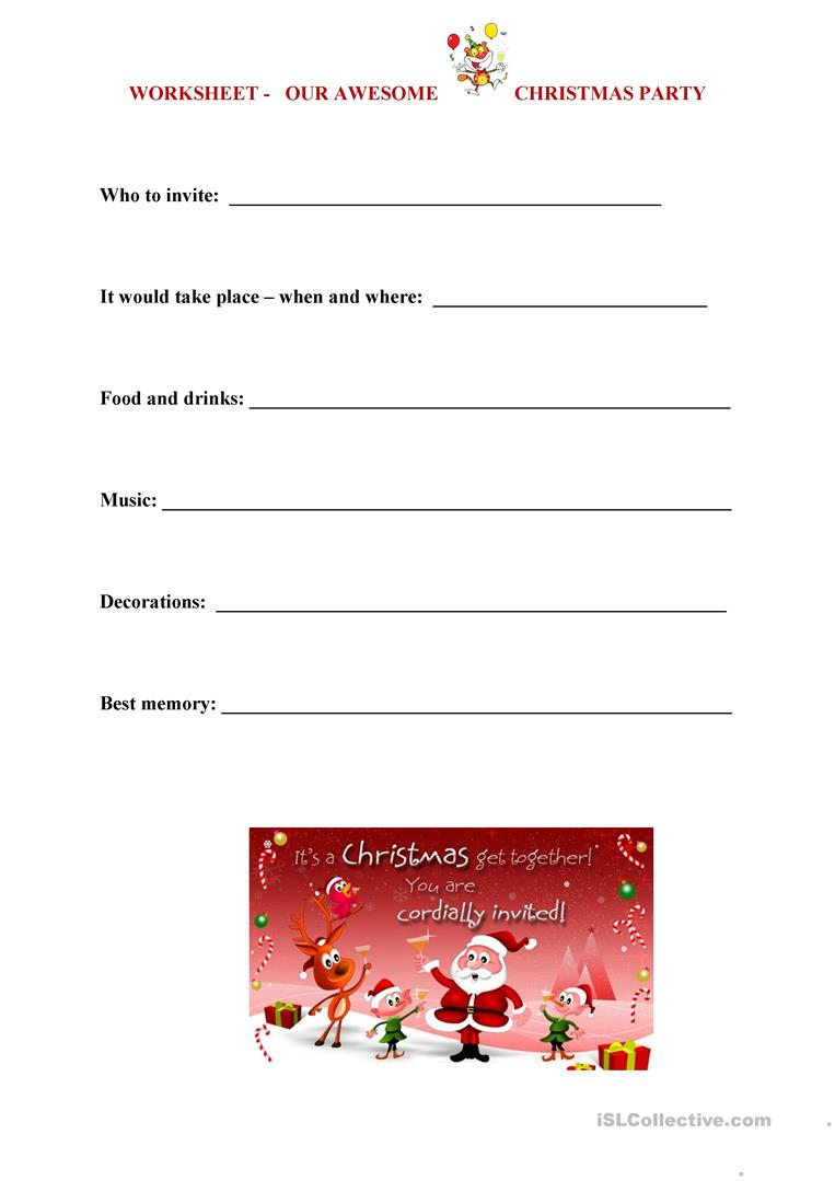 Christmas Party Worksheet - English Esl Worksheets For