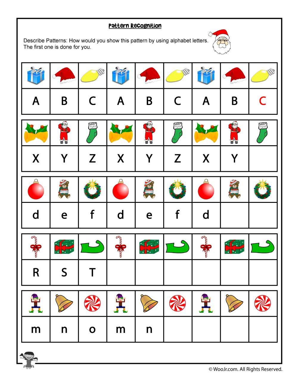 Christmas Pattern And Letter Recognition Worksheet | Woo! Jr